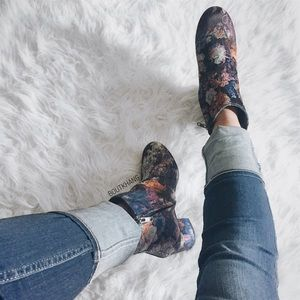 Shoes - Abstract Floral Print Booties